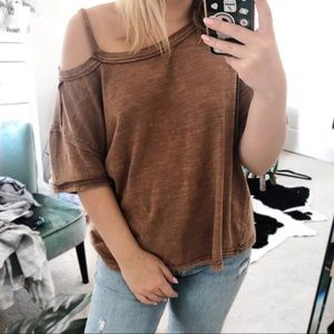 Free people we the free brown one shoulder shirt